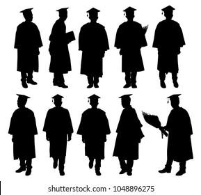 Graduate silhouette vector set