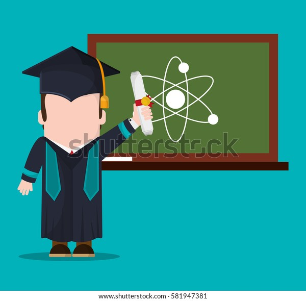 graduate student with diploma and chalkboard science