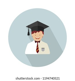 graduate student icon. Flat isolated illustration of graduation for any web design