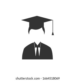 Graduate Student Icon Graduation Gown Cap Flat Vector Illustration
