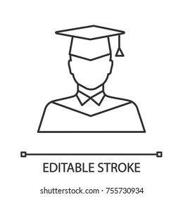 Graduate student linear icon. Person in academic dress. Thin line illustration. Contour symbol. Vector isolated outline drawing. Editable stroke