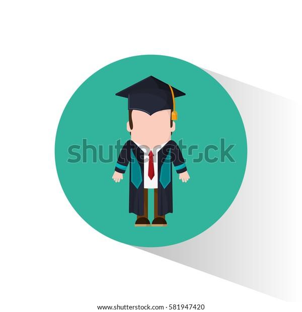graduate student tie cap standing