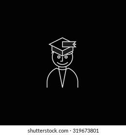 Graduate student wearing hat portrait icon black
