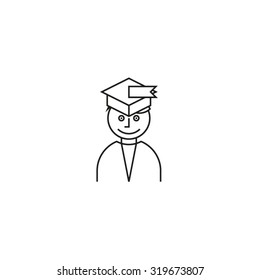 Graduate student wearing hat portrait icon white