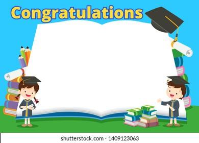graduate students in graduation gowns holding diplomas poster.congratulations graduates kids.
