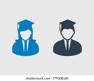 Graduate Students Icon. Male and Female symbol with cap on their head.