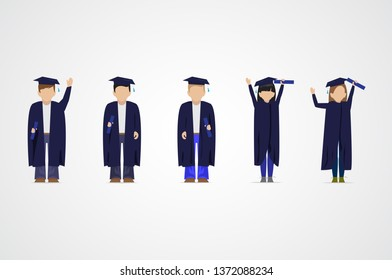 Graduate Students Set - Isolated On Gray Background - Vector Illustration. Flat Design Of Graduate Students. Happy Young Man And Woman. University People.  Cute People With Characters