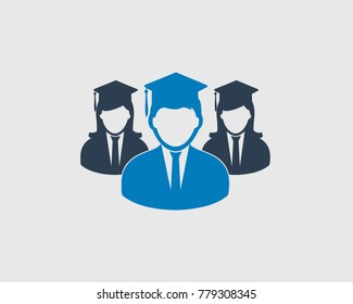 Graduate Students team icon with cap on gray background.