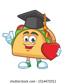 graduate Taco Mexican cartoon mascot character vector