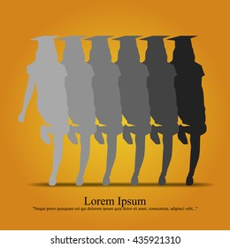 Graduated girl silhouette vector.