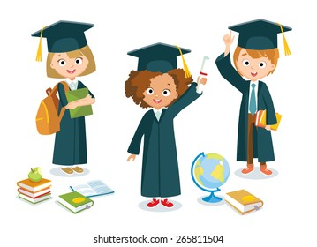 graduated pupils with globe and books