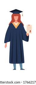Graduated student. Happy girl with diploma or certificate wearing academic gown and hat, graduation from college or university. Flat vector cartoon isolated illustration