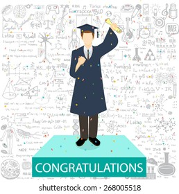 Graduated student standing on the podium withe the word congratulations and education doodles background.