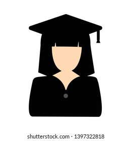 Graduated student vector icon. filled flat sign for mobile concept and web design. Person with graduation cap glyph icon. Symbol, logo illustration. Pixel perfect vector graphics