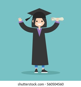 Graduated student wearing cap and gown / flat editable vector illustration, clip art