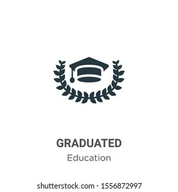 Graduated vector icon on white background. Flat vector graduated icon symbol sign from modern graduation and education collection for mobile concept and web apps design.
