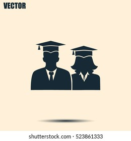 graduates in gown and graduation cap icon. flat style vector