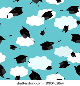 Graduates hats in the clouds sky. Seamless pattern