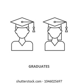 Graduates male and female character icons outline style