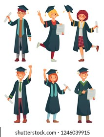 Graduates students. College student in graduation gowns, educated university graduating man and woman characters. Graduate professional or students professor cartoon vector isolated icons set