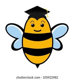 Graduating bee wearing a mortar board with tassel.
