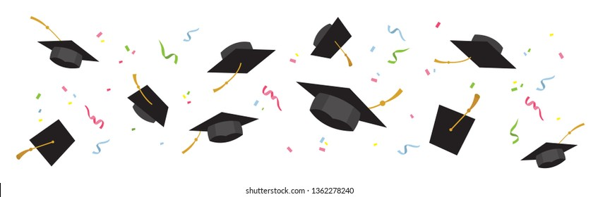 Graduating caps up in the air-vector illustrations