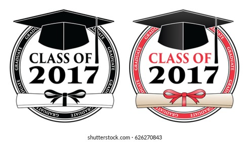 Graduating Class of 2017 - Vector is a design in color or in black and white that shows your pride as a graduate of the class of 2017. Includes a cap, text and diploma. Great for graduation t-shirts.