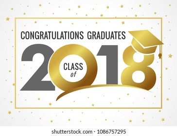 Graduating class of 2018 vector illustration. Class of 2018 light design graphics for decoration with golden colored for design cards, invitations or banner