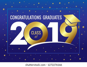 Graduating class of 2019 vector illustration. Class of 2019 design graphics for decoration with golden colored for design cards, invitations or banner