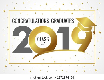 Graduating class of 2019 vector illustration. Class of 20 19 design graphics for decoration with golden and black colored for design cards, invitations or banner