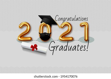 Graduating class of 2021.Congratulations  graduates. Vector inscription with gold letters. Figure in face shield and graduation cap, keep your distance. Lettering for greeting, invitation card, banner