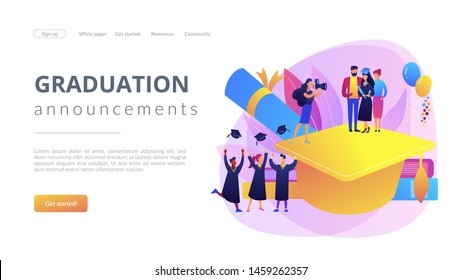Graduating with friends. Proud parents with graduated student. Graduation day, getting an academic degree, graduation announcements concept. Website homepage landing web page template.