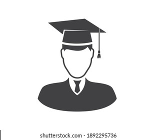 graduating student avatar.Vector illustration in flat style isolated on white background.