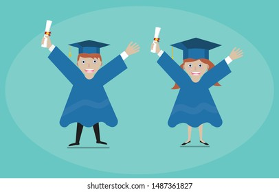 Graduating students boy and girl in happy action concept vector illustration.happy graduate boy and girl