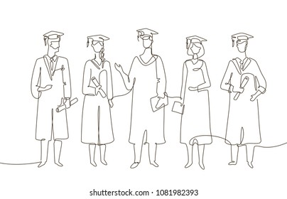 Graduating students - one line design style illustration on white background. Composition with people in academic gowns wearing graduate caps, holding certificates and diplomas