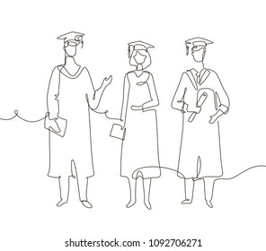 Graduating students - one line design style illustration on white background. Composition with three friends in academic gowns wearing graduate caps, holding certificates and diplomas, talking