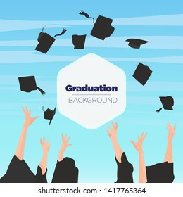Graduating students of pupil hands in gown throwing graduation caps in the air, flying academic hats, throw mortar boards in the sky flat cartoon vector illustration design isolated on blue background