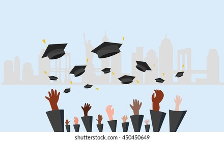 Graduating students of pupil hands in gown throwing graduation caps in new york city
