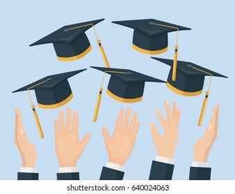 Graduating students of pupil hands in gown throwing academic hats in the sky. Flying graduation caps, mortar boards in the air isolated on background. Flat cartoon design. Vector illustration