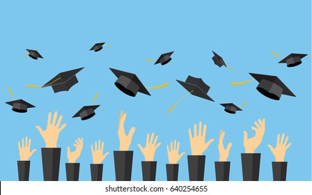 Graduating students of pupil hands in gown throwing graduation caps in the air, vector illustration in flat style