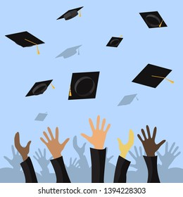 Graduating students of pupil hands throwing graduation caps in the air, vector flat illustration