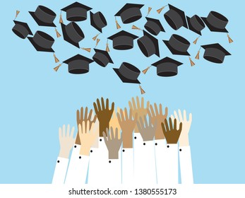 Graduating students vector illustration.