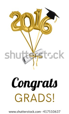 Graduation 2016 celebration graduation ceremony party stock vector graduation 2016 celebration graduation ceremony or party invitation graduate diploma cap and balloons filmwisefo