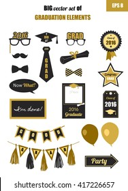 Graduation 2016 elements big set. Collection of gold and black icons for graduation party or ceremony invitation, greeting card design. Vector flat. Glasses, graduation hat and diploma, tie, balloons.