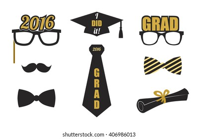 865a5f1cd266 Graduation 2016 elements set. Collection of gold and black icons for  graduation party or ceremony