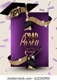 Graduation 2017 banner with confetti, ribbons, symbolic key and sparkling party hat. Vector illustration