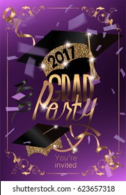 Graduation 2017 banner with confetti, serpentine and sparkling party hats. Vector illustration