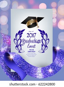 graduation 2017 invitation card with with purple curly ribbons with circle pattern, sparkling hat and unfocused background. Vector illustration