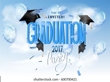 Graduation 2017background with air balloons, hats, confetti, clouds and sky. Vector illustration