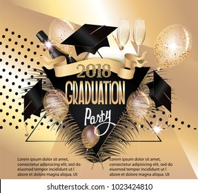 Graduation 2018 banner with air balloon, bottles and goblets of champagne and triangles. Gold and Black. Vector illustration